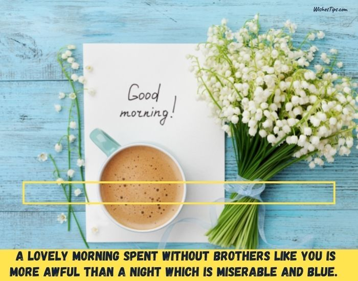 A lovely morning spent without brothers like you, is more awful than a night which is miserable and blue. Good morning wishes image