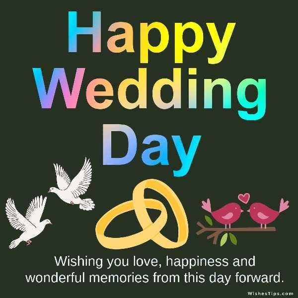Happy wedding wishes to friend. Wishing you love, happiness and wonderful memories from this day forward.